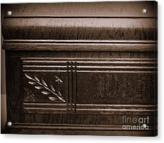 Old Carved Wood Cabinet Acrylic Print by JW Hanley