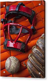 Old Catcher Mask Acrylic Print by Garry Gay