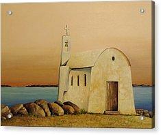 Old Chapel On Mykonos Acrylic Print by Martin Schmidt
