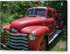 Old Chevy Fire Engine Acrylic Print