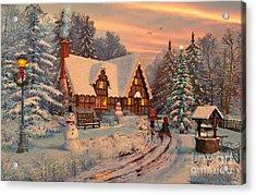 Old Christmas Cottage Acrylic Print by Dominic Davison