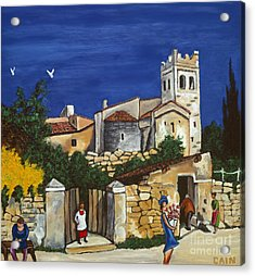 Old Church And Flower Girl Acrylic Print by William Cain
