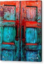 Old Church Door Handles 2 Acrylic Print by Becky Lupe