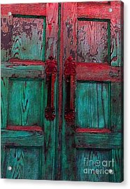 Acrylic Print featuring the photograph Old Church Door Handles by Becky Lupe