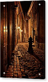 Old City Street In The Night Acrylic Print by Gynt
