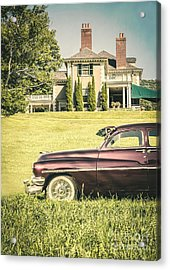1951 Mercury Sedan In Front Of Large Mansion Acrylic Print
