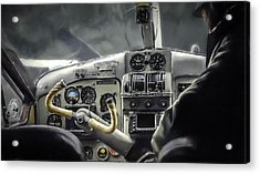Old Cockpit Acrylic Print by Barb Hauxwell