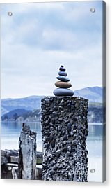 Old Concrete Jetty Posts Governors Bay Banks Peninsula New Zealand Acrylic Print by Colin and Linda McKie