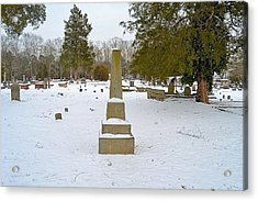 Old Conyers Cemetery In Snow Acrylic Print