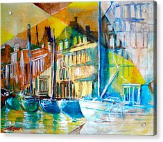 Acrylic Print featuring the painting Old Copenhagen Thru Stained Glass by Seth Weaver