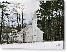 Old Country Church In The Winter Woods  Acrylic Print