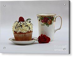 Old Country Rose And Raspberry Cupcake Delight Acrylic Print by Inspired Nature Photography Fine Art Photography
