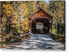 Old Covered Bridge Vermont Acrylic Print by Edward Fielding