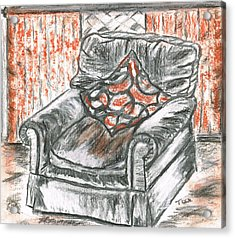 Acrylic Print featuring the drawing Old Cozy Chair by Teresa White