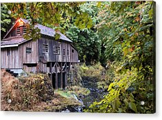 Old Creek Grist Mill In Autumn Acrylic Print by Athena Mckinzie