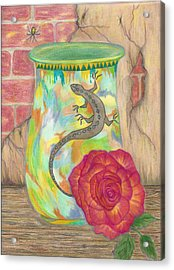 Old Crock And Rose Acrylic Print