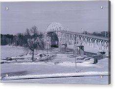 Old Crown Point Bridge In Winter Acrylic Print by David Fiske