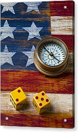 Old Dice And Compass Acrylic Print by Garry Gay
