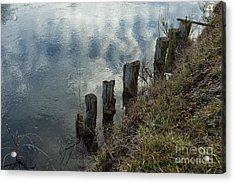 Old Dock Supports Along The Canal Bank - No 1 Acrylic Print by Belinda Greb