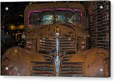Old Dodge Truck In  Neon Acrylic Print