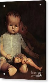 Old Dolls Sitting On Wooden Table Acrylic Print by Sandra Cunningham