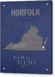 Old Dominion University Monarchs Norfolk Virginia College Town State Map Poster Series No 085 Acrylic Print