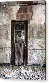 Old Door - Abandoned Building - Tea Acrylic Print by Gary Heller