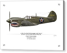 Old Exterminator P-40 Warhawk - White Background Acrylic Print by Craig Tinder