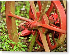 Old Farm Tractor Wheel Acrylic Print