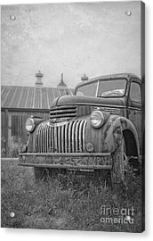Old Farm Truck Out By The Barn Acrylic Print by Edward Fielding
