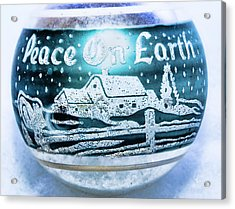 Acrylic Print featuring the photograph Christmas Tree Ornament Peace On Earth  by Vizual Studio