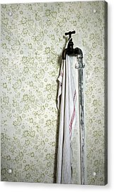 Old Fashioned Faucet And Flowery Wallpaper Acrylic Print by Matthias Hauser