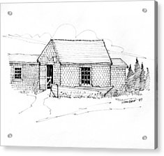 Acrylic Print featuring the drawing Old Fishermans Shack Monhegan Museum 1987 by Richard Wambach
