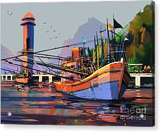 Old Fishing Boat In The Harbor,digital Acrylic Print