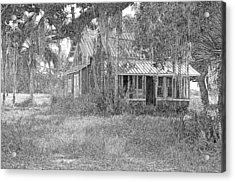 Old Florida House Pencil Acrylic Print by Ronald T Williams
