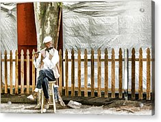 Old Flute Player Acrylic Print