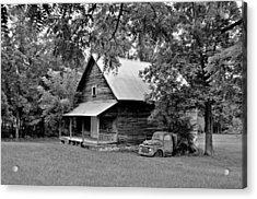 Old Ford And Cabin Acrylic Print by Bob Jackson