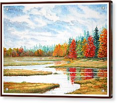 Acrylic Print featuring the painting Old Forge Autumn by Roger Rockefeller