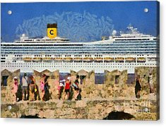 Old Fortification And Cruise Ship Acrylic Print by George Atsametakis