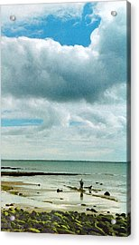 Old Friends Share A Beach Acrylic Print