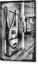 Old Fuel Pump - Black And White Acrylic Print by Kaye Menner