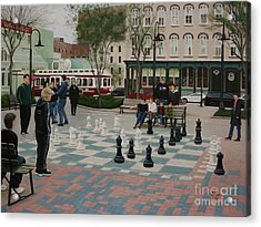 Acrylic Print featuring the painting Old Galveston Square by Jimmie Bartlett