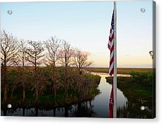 Old Glory And Cypress Acrylic Print by Ken  Collette