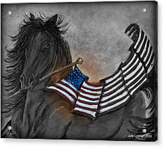 Old Glory Black And White Acrylic Print by Julie Lowden