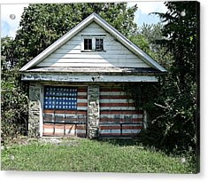 Old Glory Garage  Acrylic Print by Richard Reeve