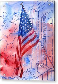 Old Glory In The Neighborhood Acrylic Print by Peter Plant