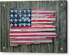 Old Glory In Wood Acrylic Print by Jack Daulton