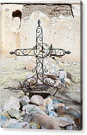 Acrylic Print featuring the photograph Old Gravestone Marker by Kerri Mortenson
