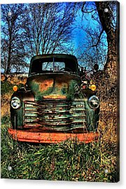 Old Green Chevy Acrylic Print by Julie Dant