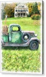 Old Green Pickup Truck Acrylic Print by Edward Fielding